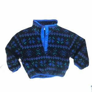 Vintage LL Bean Kids Snap Fleece Geometric Pattern